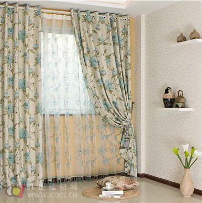 简欧客厅窗帘效果图:时尚帆布窗帘定做,宜家风窗帘拼色款.