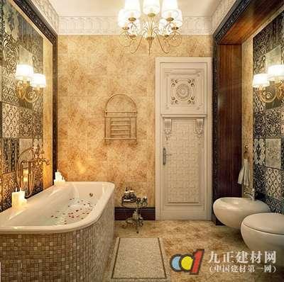 浴缸的贴面是细小的瓷砖,用色上也十分谨慎的选择了暗色.