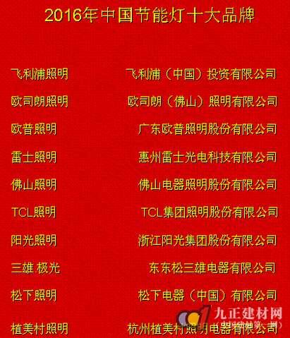 """2016年""""中国节能灯十大品牌"""""""