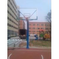 圆管单臂固定篮球架 圆管固定式独臂 学校场地篮球架的供应