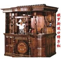 防腐木大吧台 前台收银台 实木酒吧屋酒柜酒架