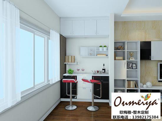 欧梅雅整木定制:室内酒柜吧台设计效果图