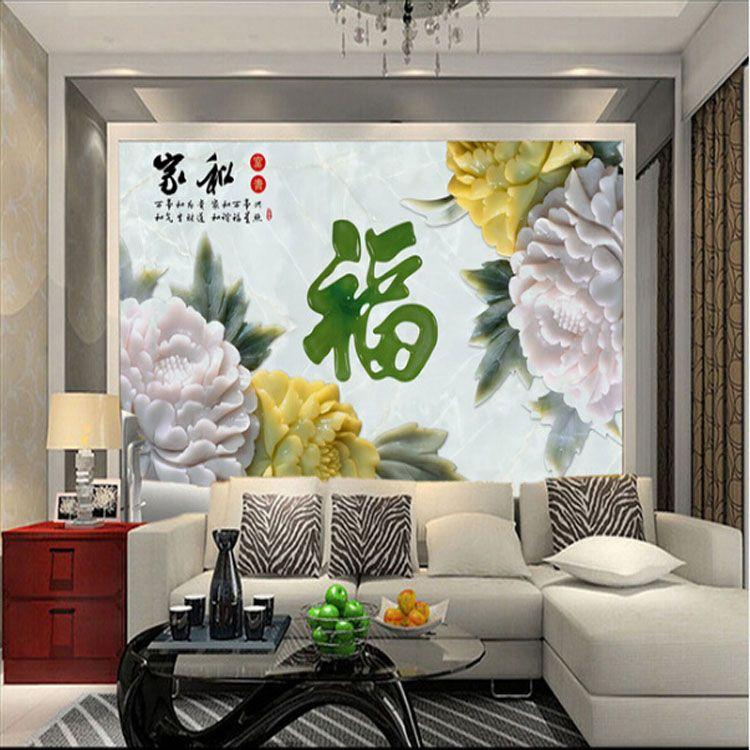 大型3d仿玉石壁画 浮雕壁画背景墙