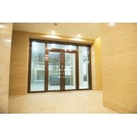 浙江杭州拉丝玫瑰金不锈钢玻璃门 银行大厅推拉玻璃门