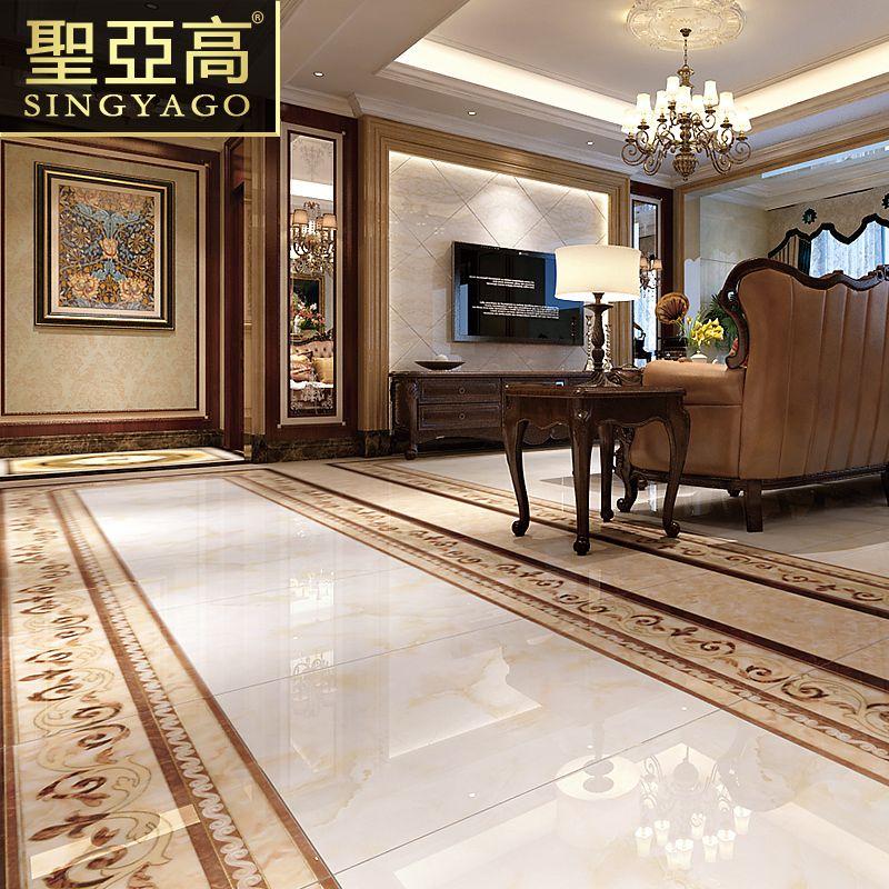 圣亚高瓷砖 客厅抛晶砖地砖欧式中式地毯抛金砖 玄关地心无限拼图片