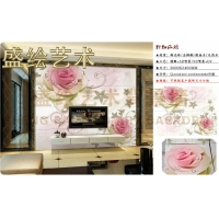 粉红玫瑰电视背景墙