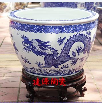 定做陶瓷养鱼缸 陶瓷小缸图片 青花瓷装饰小缸