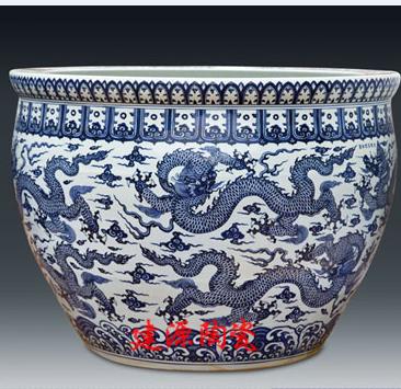 商场装饰摆件陶瓷大缸 陶瓷工艺品大缸