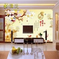 家和富贵彩雕玉兰花九鱼电视瓷砖背景墙客厅沙发瓷砖彩雕背景墙