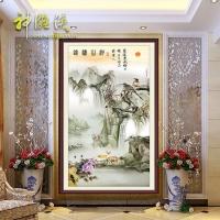 中式玄关背景墙 走廊过道瓷砖背景墙 沙发客厅竖版山水画山河锦