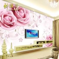 瓷砖背景墙砖简约现代客厅电视墙瓷砖艺术彩雕3D背景梦幻玫瑰花