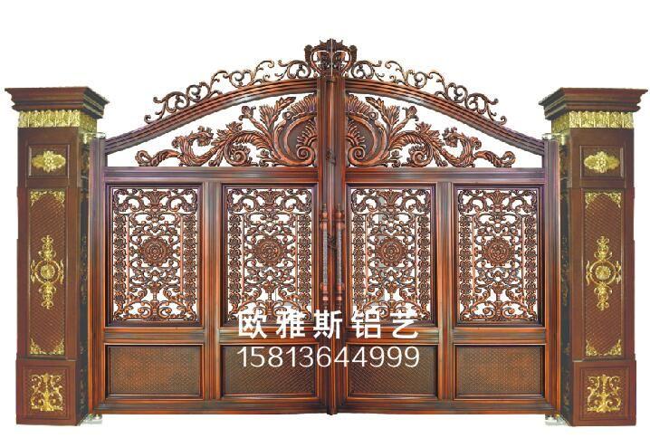 欧雅斯铝艺别墅门、铸铝庭院门、双开平移电动门