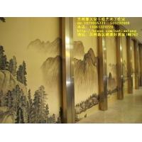 手绘丝绸/真丝墙纸,手绘金银箔墙纸刺,绣壁纸壁画,