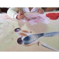手绘丝绸真丝墙纸手绘金银箔壁纸手绘刺绣墙纸,可订制