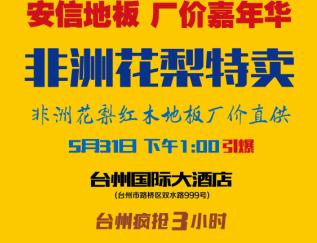 安信地板工厂嘉年华3.15台州国际大酒店1点引爆