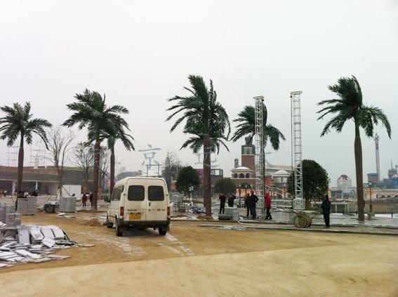 淮南市动漫主题公园仿真椰子树完工