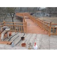 扬州动物园草食居仿木栏杆、仿木纹制作现场