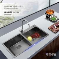不锈钢水槽黑色纳米抗菌手工水槽厨房洗菜盆