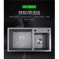 纳米抗菌水槽不锈钢手工水槽厨房洗菜盆洗碗池银色纳米双槽