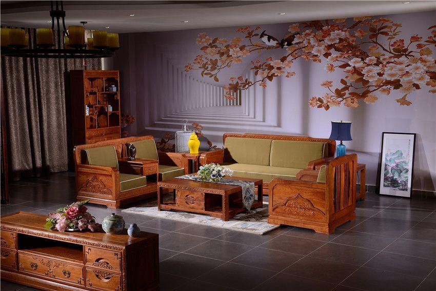 东阳红木沙发,荷塘月色沙发,中式红木沙发组合