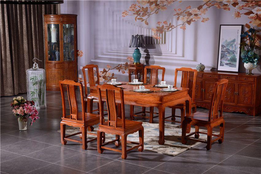 红木餐桌品牌-如金红木餐桌-荷塘月色餐桌椅7件套组合