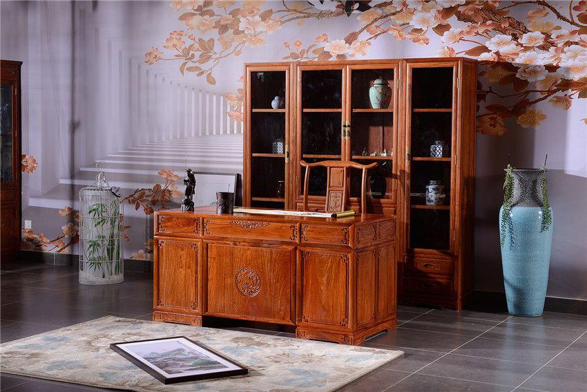 红木书桌品牌-花梨木办公桌-红木书房家具直销