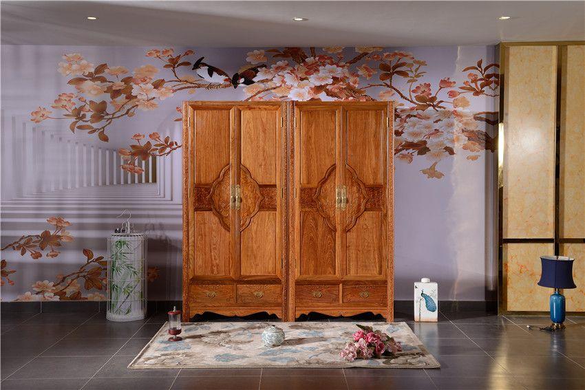 红木衣柜-中式大衣柜-花梨木大衣柜-如金红木大衣柜