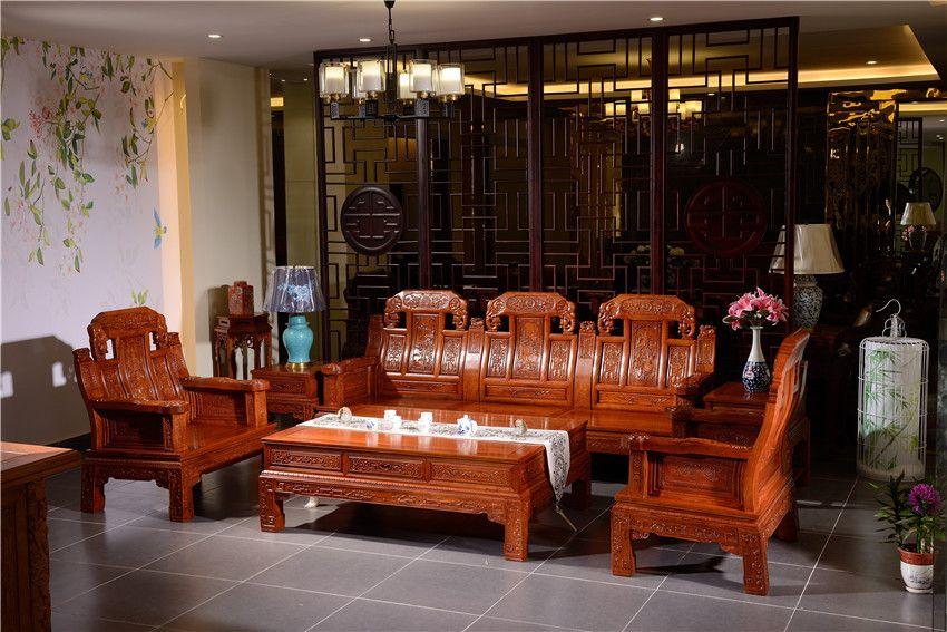 如金红木沙发直销-象头沙发6件套-中式客厅红木沙发