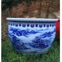 精品直径1.2米手绘景德镇青花山水陶瓷大缸