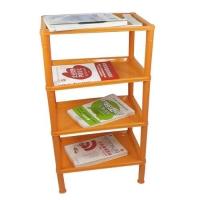 塑料四层长方形简易书架置物架彩色收纳架