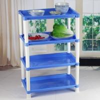 超实用四层厨房置物架塑料长方形多功能储物架