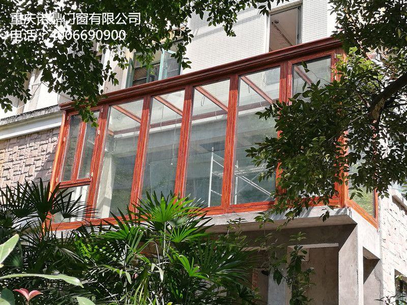 重庆诺鼎100型铝合金门窗封阳台外开下悬窗