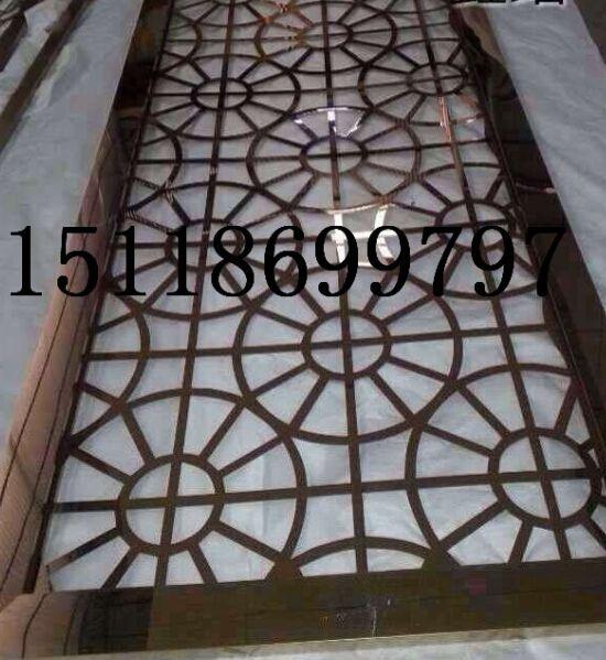会所玻璃门304镜面不锈钢玫瑰金门花格