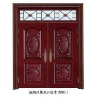 福多多门业-庭院风景双开红木仿铜门