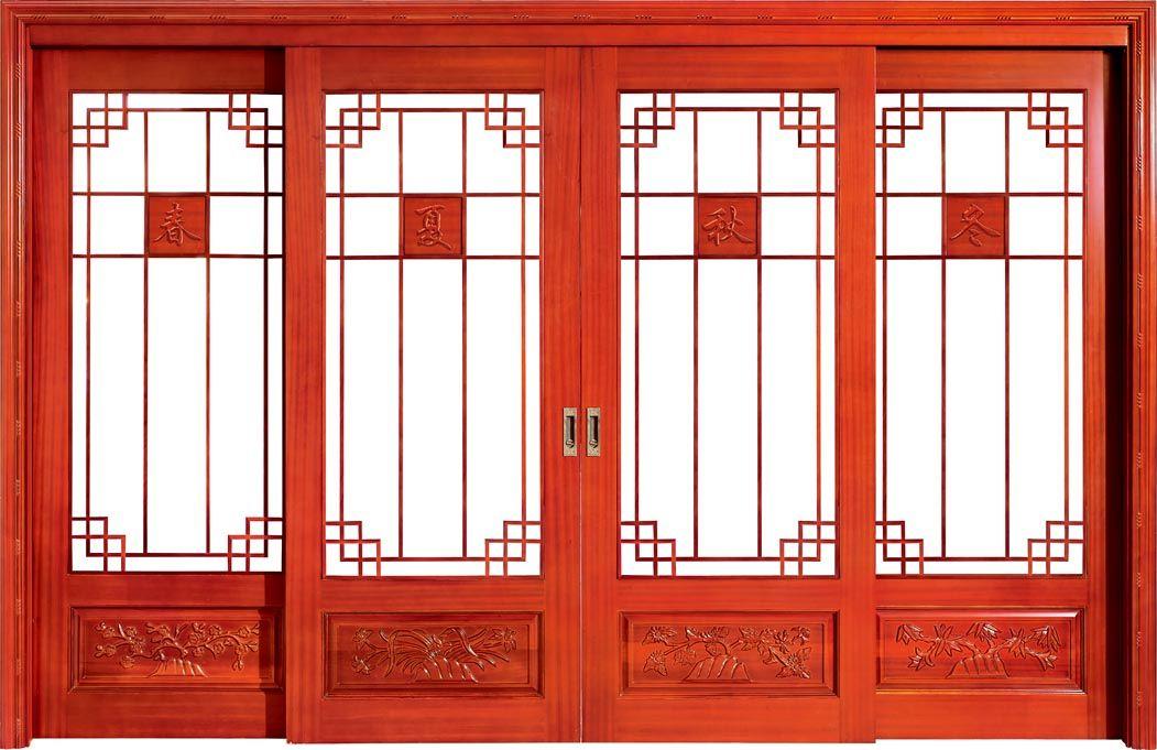 广东木门厂红海豚实木原木推拉玻璃门
