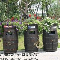 户外实木垃圾桶创意果皮箱环卫垃圾桶花坛种植花盆园林户外垃圾桶