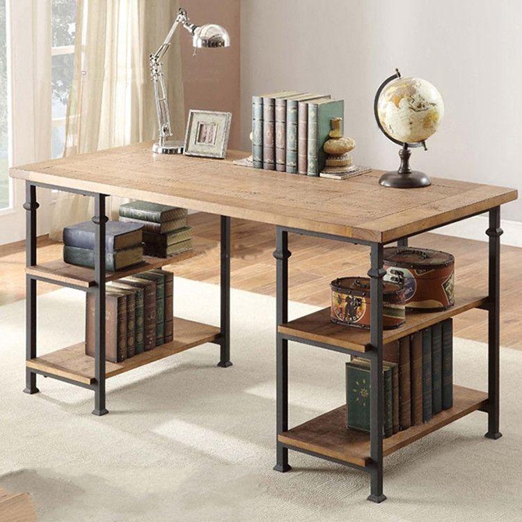 办公电脑桌  LOFT北欧实木家用美式办公书桌