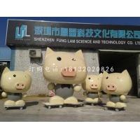 玻玻璃钢小猪雕塑,玻璃钢卡通动物雕塑