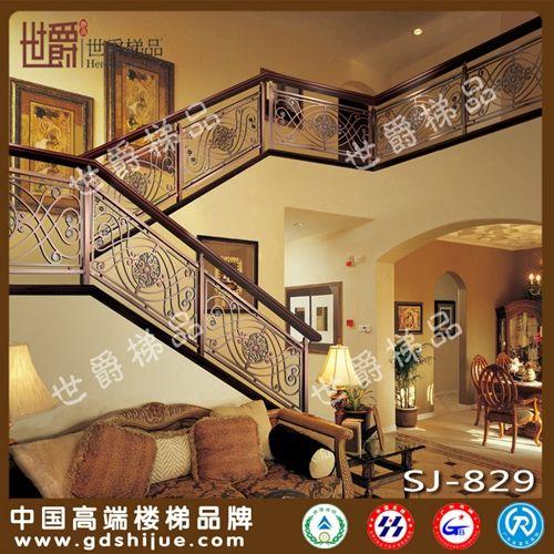 红古铜别墅护栏栏杆 高档家装铝合金楼梯护栏