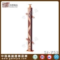 优势铝材打造楼梯立柱 铝合金加木款 夹玻璃立柱