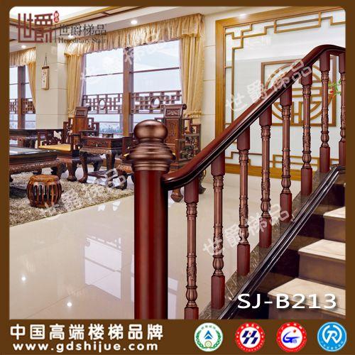 中式铝艺楼梯栏杆立柱 室内铝镶木楼梯护栏立柱图片