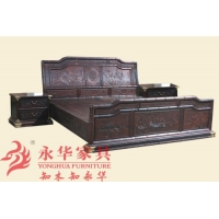 广州永华红木卧室系列之竹节高低床 红木大床三件套