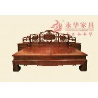 老挝大红酸枝中式大床 明清古典卧室家具永华四季花大床