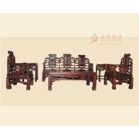 中国红木家具品牌 广东红木沙发组合#永华卷书沙发6件套