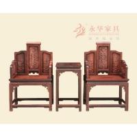 广东红木沙发古典客厅家具@永华红木家具龙凤飞舞宝座椅