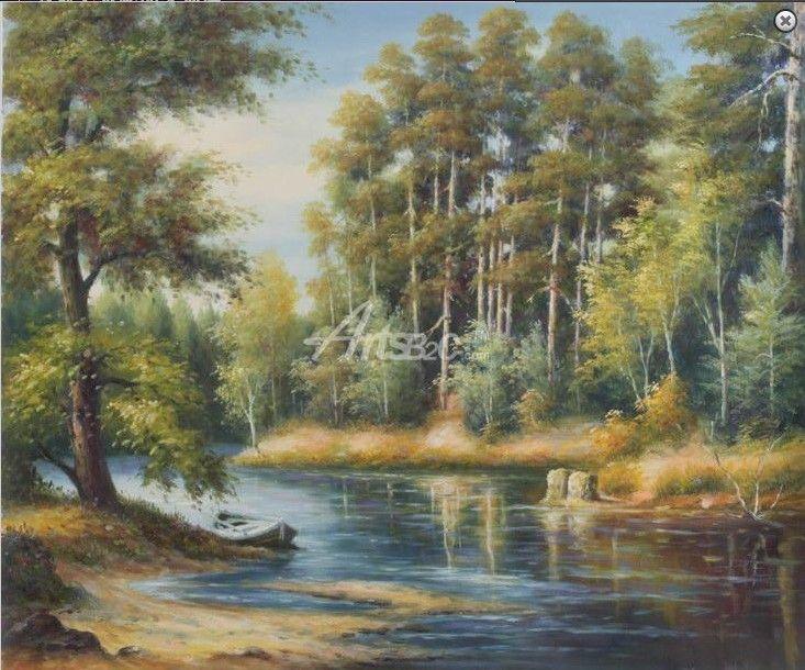 田园油画 树林 河流油画 餐厅装饰油画