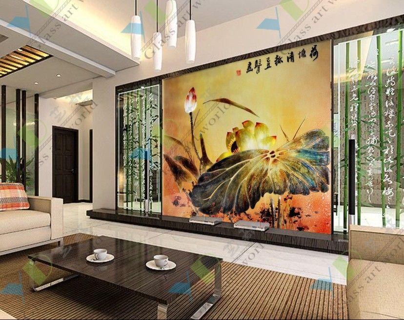 艺术玻璃电视背景墙