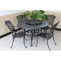 户外烧烤桌椅铸铝桌椅庭院家具户外休闲桌椅户外金属家具