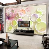 彩色圆圈现代艺术壁画背景墙