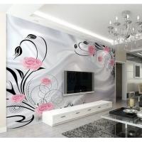 创意玫瑰花大型客厅电视背景墙壁画拼接无纺布pvc